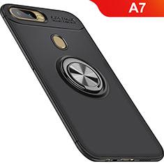 Oppo A7用極薄ソフトケース シリコンケース 耐衝撃 全面保護 アンド指輪 マグネット式 バンパー Oppo ブラック