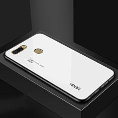 Oppo A7用ハイブリットバンパーケース プラスチック 鏡面 虹 グラデーション 勾配色 カバー Oppo ホワイト
