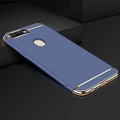 Oppo A7用ケース 高級感 手触り良い メタル兼プラスチック バンパー M01 Oppo ネイビー