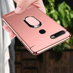 Oppo A7用ケース 高級感 手触り良い メタル兼プラスチック バンパー アンド指輪 A01 Oppo ローズゴールド