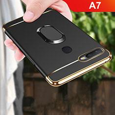 Oppo A7用ケース 高級感 手触り良い メタル兼プラスチック バンパー アンド指輪 A01 Oppo ブラック
