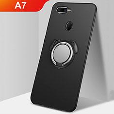 Oppo A7用極薄ソフトケース シリコンケース 耐衝撃 全面保護 アンド指輪 マグネット式 バンパー A01 Oppo ブラック
