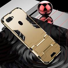 Oppo A7用ハイブリットバンパーケース プラスチック アンド指輪 兼シリコーン カバー Oppo ゴールド