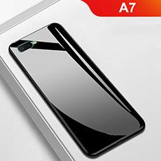 Oppo A7用ハイブリットバンパーケース プラスチック 鏡面 カバー Oppo ブラック