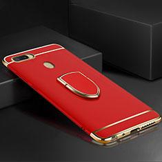 Oppo A7用ケース 高級感 手触り良い メタル兼プラスチック バンパー アンド指輪 A02 Oppo レッド