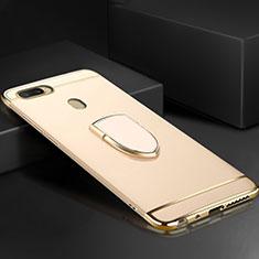 Oppo A7用ケース 高級感 手触り良い メタル兼プラスチック バンパー アンド指輪 A02 Oppo ゴールド