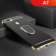 Oppo A7用ケース 高級感 手触り良い メタル兼プラスチック バンパー アンド指輪 A02 Oppo ブラック