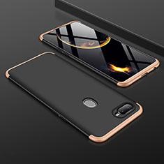 Oppo A7用ハードケース プラスチック 質感もマット 前面と背面 360度 フルカバー Oppo ゴールド・ブラック