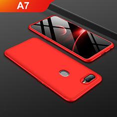Oppo A7用ハードケース プラスチック 質感もマット 前面と背面 360度 フルカバー Oppo レッド