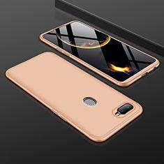 Oppo A7用ハードケース プラスチック 質感もマット 前面と背面 360度 フルカバー Oppo ゴールド