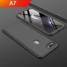 Oppo A7用ハードケース プラスチック 質感もマット 前面と背面 360度 フルカバー Oppo ブラック