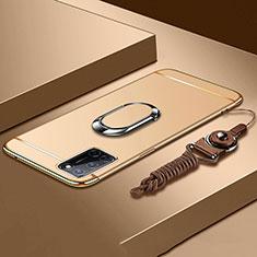 Oppo A72用ケース 高級感 手触り良い メタル兼プラスチック バンパー アンド指輪 亦 ひも Oppo ゴールド