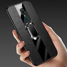 Oppo A9用シリコンケース ソフトタッチラバー レザー柄 アンド指輪 マグネット式 Oppo ブラック