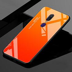 Oppo A9用ハイブリットバンパーケース プラスチック 鏡面 虹 グラデーション 勾配色 カバー Oppo オレンジ