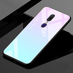 Oppo A9用ハイブリットバンパーケース プラスチック 鏡面 虹 グラデーション 勾配色 カバー Oppo シアン