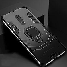 Oppo A9用ハイブリットバンパーケース スタンド プラスチック 兼シリコーン カバー マグネット式 Oppo ブラック