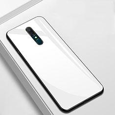 Oppo A9用ハイブリットバンパーケース プラスチック 鏡面 カバー Oppo ホワイト