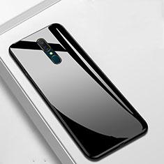 Oppo A9用ハイブリットバンパーケース プラスチック 鏡面 カバー Oppo ブラック