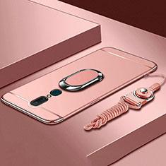 Oppo A9用ケース 高級感 手触り良い メタル兼プラスチック バンパー アンド指輪 A01 Oppo ローズゴールド