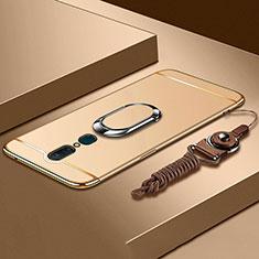 Oppo A9用ケース 高級感 手触り良い メタル兼プラスチック バンパー アンド指輪 A01 Oppo ゴールド