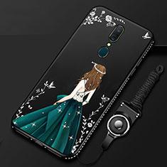 Oppo A9用シリコンケース ソフトタッチラバー バタフライ ドレスガール ドレス少女 カバー Oppo ブラック