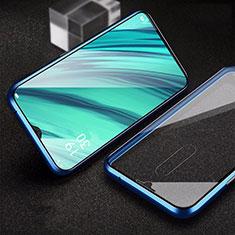 Oppo A9用ケース 高級感 手触り良い アルミメタル 製の金属製 360度 フルカバーバンパー 鏡面 カバー Oppo ネイビー
