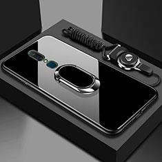 Oppo A9用ハイブリットバンパーケース プラスチック 鏡面 カバー アンド指輪 Oppo ブラック