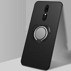 Oppo A9用極薄ソフトケース シリコンケース 耐衝撃 全面保護 アンド指輪 マグネット式 バンパー A01 Oppo ブラック