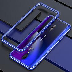 Oppo A9用ケース 高級感 手触り良い アルミメタル 製の金属製 360度 フルカバーバンパー 鏡面 カバー M01 Oppo ネイビー