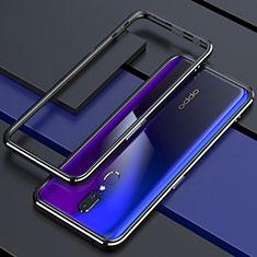 Oppo A9用ケース 高級感 手触り良い アルミメタル 製の金属製 360度 フルカバーバンパー 鏡面 カバー M01 Oppo ブラック