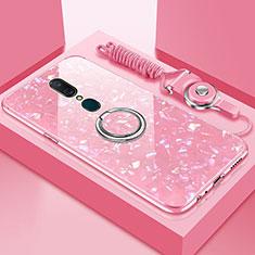 Oppo A9用ハイブリットバンパーケース プラスチック 鏡面 カバー アンド指輪 マグネット式 Oppo ピンク
