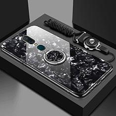 Oppo A9用ハイブリットバンパーケース プラスチック 鏡面 カバー アンド指輪 マグネット式 Oppo ブラック