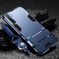 Oppo A91用ハイブリットバンパーケース スタンド プラスチック 兼シリコーン カバー Oppo ネイビー
