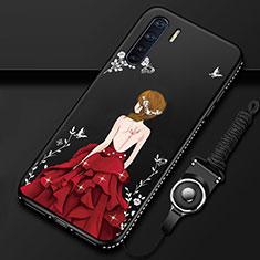 Oppo A91用シリコンケース ソフトタッチラバー バタフライ ドレスガール ドレス少女 カバー Oppo レッド・ブラック