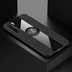 Oppo A91用極薄ソフトケース シリコンケース 耐衝撃 全面保護 クリア透明 アンド指輪 マグネット式 S01 Oppo ブラック
