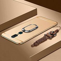 Oppo A9X用ケース 高級感 手触り良い メタル兼プラスチック バンパー アンド指輪 A01 Oppo ゴールド