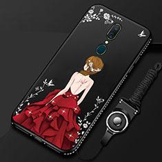 Oppo A9X用シリコンケース ソフトタッチラバー バタフライ ドレスガール ドレス少女 カバー Oppo レッド・ブラック