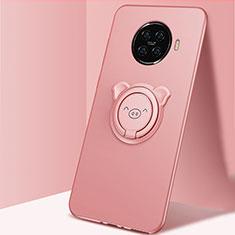 Oppo Ace2用極薄ソフトケース シリコンケース 耐衝撃 全面保護 アンド指輪 マグネット式 バンパー Oppo ピンク