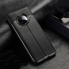 Oppo Ace2用シリコンケース ソフトタッチラバー レザー柄 カバー S02 Oppo ブラック