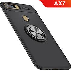 Oppo AX7用極薄ソフトケース シリコンケース 耐衝撃 全面保護 アンド指輪 マグネット式 バンパー Oppo ブラック