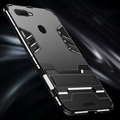 Oppo AX7用ハイブリットバンパーケース プラスチック アンド指輪 兼シリコーン カバー Oppo ブラック