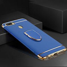 Oppo AX7用ケース 高級感 手触り良い メタル兼プラスチック バンパー アンド指輪 A02 Oppo ネイビー