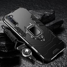 Oppo F15用ハイブリットバンパーケース プラスチック アンド指輪 マグネット式 Oppo ブラック