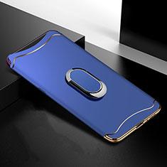 Oppo Find X用ケース 高級感 手触り良い メタル兼プラスチック バンパー M01 Oppo ネイビー