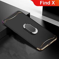 Oppo Find X用ケース 高級感 手触り良い メタル兼プラスチック バンパー M01 Oppo ブラック