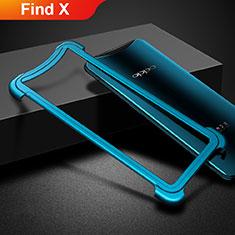 Oppo Find X用ケース 高級感 手触り良い アルミメタル 製の金属製 バンパー Oppo ネイビー