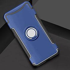 Oppo Find X用ハイブリットバンパーケース プラスチック アンド指輪 兼シリコーン カバー Oppo ネイビー