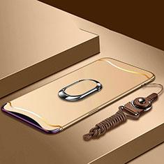 Oppo Find X用ケース 高級感 手触り良い メタル兼プラスチック バンパー アンド指輪 亦 ひも Oppo ゴールド
