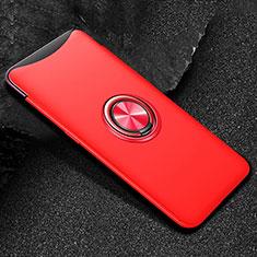 Oppo Find X用極薄ソフトケース シリコンケース 耐衝撃 全面保護 アンド指輪 マグネット式 バンパー T01 Oppo レッド