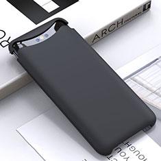 Oppo Find X用360度 フルカバー極薄ソフトケース シリコンケース 耐衝撃 全面保護 バンパー C01 Oppo ブラック